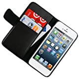 CellJoy Leather Wallet Credit Card Hard Kick Stand Case for Apple iPhone 5 5G 6th Generation (At&t / Sprint / Verizon / Unlocked) [CellJoy Retail Packaging] (Black)