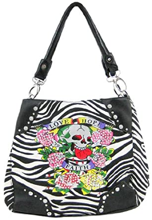 Amazon.com: Zebra Striped Faith, Hope, Love Tattoo Purse Black Trim: