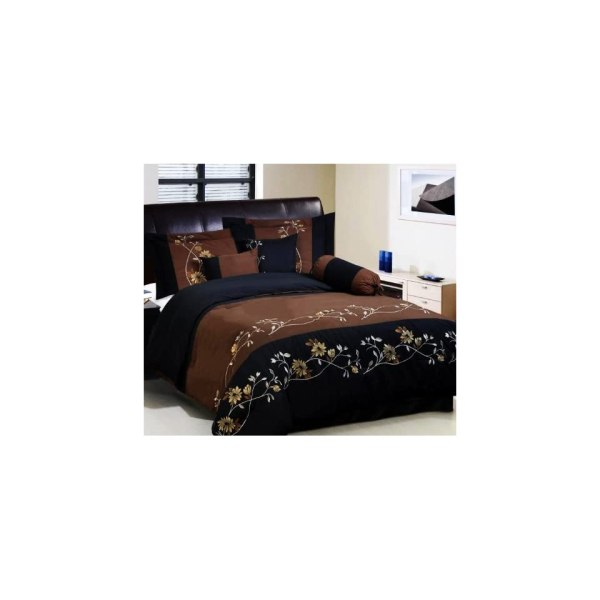 7 Pc Modern Brown Black Embroidered Comforter Set Bed In
