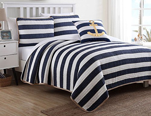 nautica beach chairs for outside hampton blue and white striped nautical themed bedding set - beachfront decor
