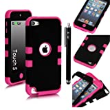 E-LV Two Tone Hard and Soft Hybrid Armor Combo Case for Apple iPod Touch 5 5th Generation with 1 Free Screen Protector, 1 Black Stylus and 1 E-LV Microfiber Digital Cleaner (Black with Hot Pink)