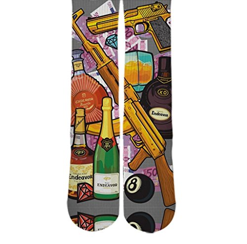 Dopesox Mens Guns And Liquor Elite Sublimated Custom Socks One Size (6-12) White