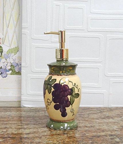 Garden Ceramic Grapes Soap Dispenser Lotion Jar Tuscany