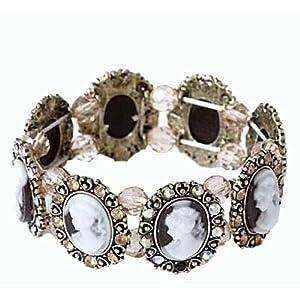 Brown Cameo Crystal and Rhinestone Stretch Bangle Bracelet Fashion Jewelry