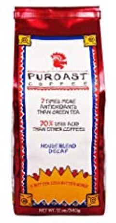 Puroast Low Acid Coffee House Blend Natural Decaf Whole Bean, 0.75-Pound Bag (Pack of 2)
