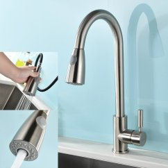 Gooseneck Kitchen Faucet With Pull Out Spray Espresso Cabinets Modern Single Handle Stainless Steel ...