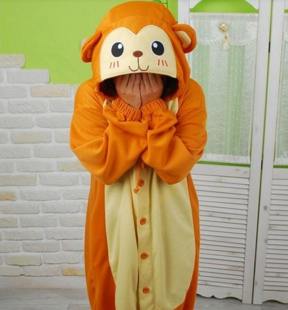 Adult Animal Pajamas Monkey Cosplay Costume For Women And Men Footed Sleepwear Size L