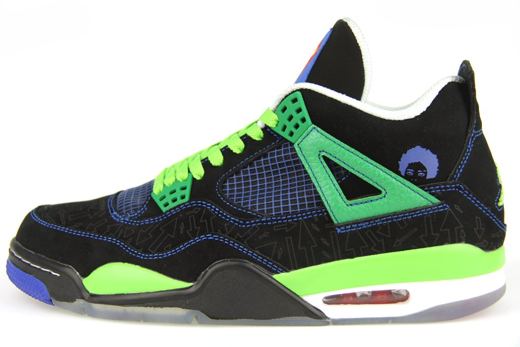 "Nike Air Jordan Men's 100% Authentic DS NIB 4/IV Retro ""Doernbecher"" 2011 308497-015 Black / Old Royal / Electric Green / White Leather (9.5)"