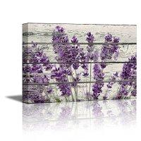 Home Decor Canvas Wall Art Purple Lavender Flowers on