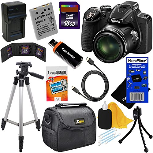 Nikon COOLPIX P530 16.1 MP CMOS Digital Camera with 42x Zoom NIKKOR Lens and Full HD 1080p Video - Black (Import) + 7pc Bundle 16GB Accessory Kit w/ HeroFiber® Ultra Gentle Cleaning Cloth