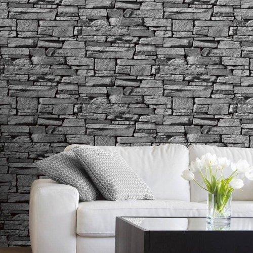 design stein tapete schwarz wohnzimmer tapete steinoptik ... - Stein Tapete Schwarz Wohnzimmer