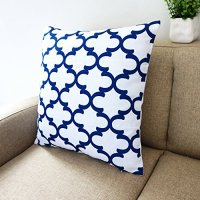 Blue and White Howarmer Square Cotton Canvas Decorative ...