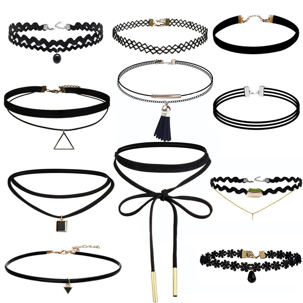 Jooest 11 Pieces Black Velvet Lace and Triangle Chokers