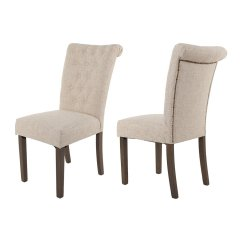Tolix Style Chair Short Dining Room Covers With Arms Merax Luxurious Fabric Chairs Solid Wood Legs Set Of 2 (beige)