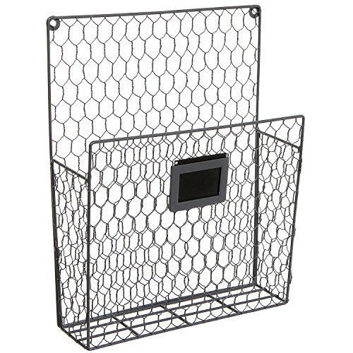 Wall Mounted Rustic Style Chicken Wire Gray Metal Magazine
