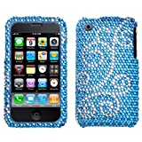 Blue Silver Swirl Full Diamond Snap on Design Case Hard Case Skin Cover Faceplate for Apple Iphone 3g 3gs + Screen Protector Film