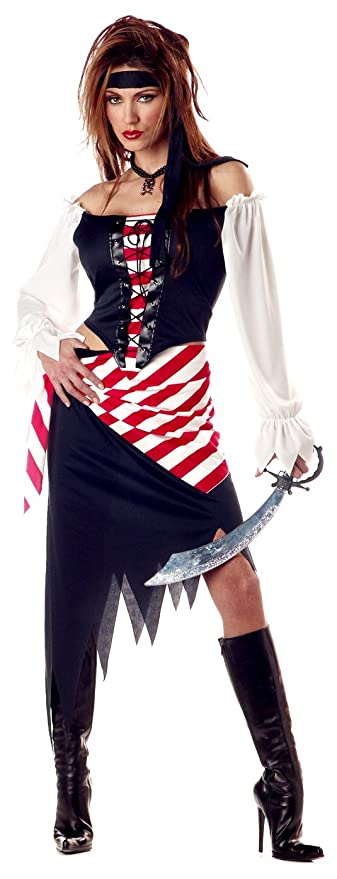 California Costumes Women's Ruby, The Pirate Beauty Costume, Black/Red/White, Small (6-8)