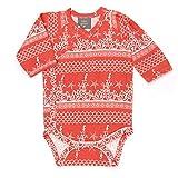 Kate Quinn Organics Unisex-baby Long Sleeve Kimono Bodysuit (0-3M, Coral Landscape)