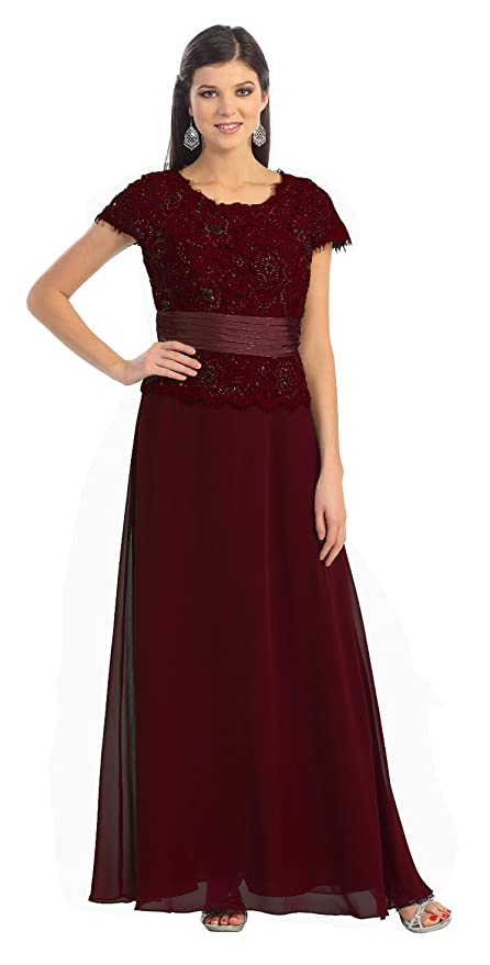 Mother of the Bride Formal Evening Dress #571 (4XL, Burgundy)
