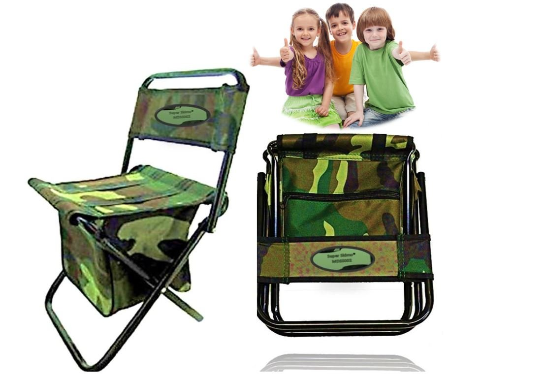 portable picnic chair steel square camping folding kids storage zipper outdoor