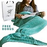 AmyHomie 人魚毛布 マーメイド ブランケット 人魚コスチューム 可愛いひざ掛け マーメイド 着る毛布 暖かい 柔らかい 防寒 人魚タイプ マーメイド 着る毛布 (ミント)