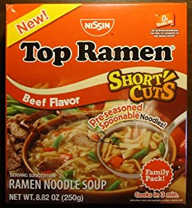 Amazoncom Nissin Top Ramen Short Cuts Beef Soup Mix
