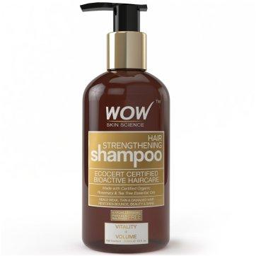 WOW Organics Hair Strengthening Shampoo, 300mL - No Sulphate - No Parabens - Infused Organic Rosemary & Tea Tree Oil