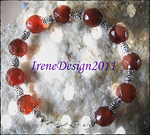 Facetted Carnelian & Silver Bracelet