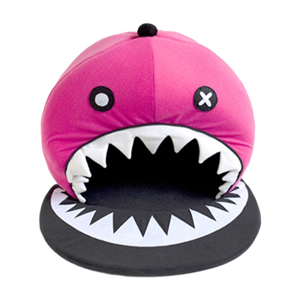 Design-Cute Cozy Magenta Pirates Shark Pet Bed for Small Cat Dog Puppy