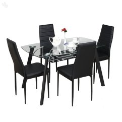 4 Seater Table And Chairs Rocking Chair Covers Ebay Royal Oak Milan Four Dining Set Black