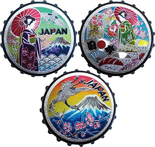おもてなし ジャパン エッチング風 王冠型マグネット 栓抜き機能付き 3個セット D