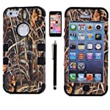 XYUN 3-pieces Straw Grass Mossy Camo Hybrid Hard Silicone Cover Case for Iphone 5c with Free Screen Protector and Stylus (Black)