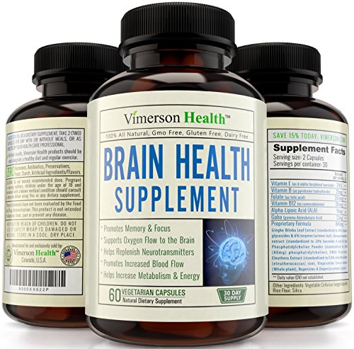 Nootropics Brain Function Booster - Memory, Mind & Focus Enhancer - Promotes Concentration, Clarity, Cognition & Mental Performance. Best Supplement with Ginkgo Biloba, DMAE, Vitamins & More