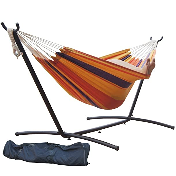 Prime Garden 9' Double Hammock with Space Saving Steel Hammock Stand, Elegant Orange Stripe