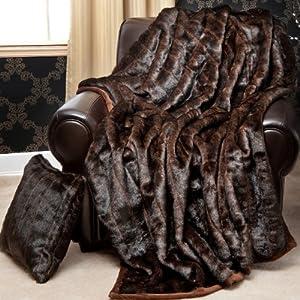 Amazoncom Faux Fur Throw Blanket 58quot x 60quot Brown Mink