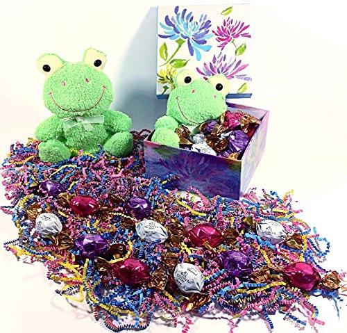 Godiva Green Frog Easter Gift Basket Alternative Box - Gourmet Truffles Chocolate Candy