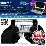 Schwarze Touchscreen Handschuhe für Apple iPhone 3G, 3GS, 4, 4S - So wärmen Sie auch ihre Hände in der Kälte - passend auch für andere Touchscreen Geräte