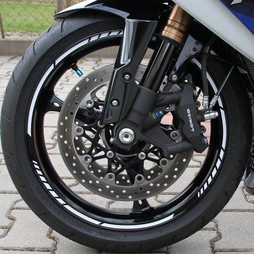Felgenrandaufkleber GP im Moto GP Design passend für 17 Zoll Felgen für Motorrad, Auto & mehr - Rot