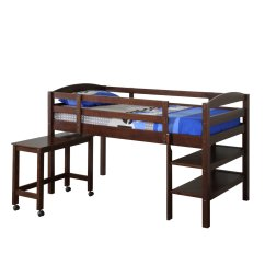 Loft Bed With Desk And Futon Chair Ball For Office We Furniture Twin Wood Espresso