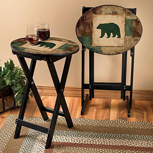 Bear Silhouette Lodge Tray Table Set 3 Pcs Wilderness Furniture