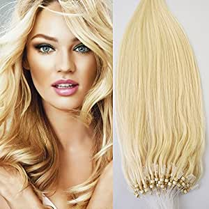 60 platinum blonde white blonde 16 40g 100s micro ring loop 100 human hair extensions