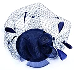 AM CLOTHES Womens Elegant Flower Pattern Feather Headwear Hair Clip Fascinator (A-Navy Blue)