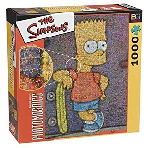 Photomosaic Puzzle featuring Bart Simpson of The Simpsons with Skateboard