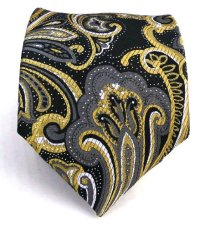 100% Silk Woven Black and Gold Paisley Tie - Beehive ...