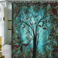 Teal and brown shower curtain for those that prefer a rustic feel
