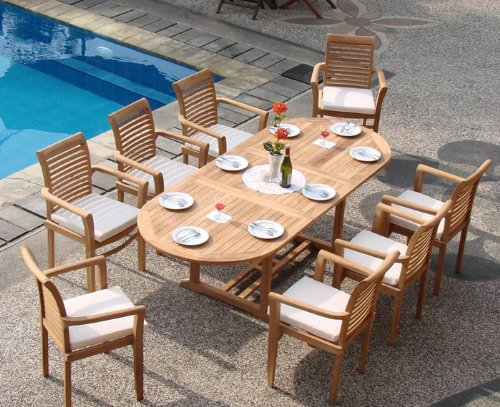9 Pc Luxurious Grade-A Teak Dining Set