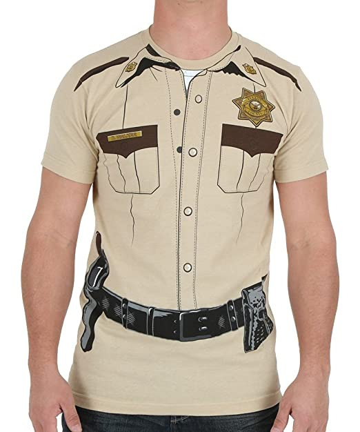 Impact Original Costume Design Sheriff Print on a Men's Slim Cotton Shirt Medium Beige