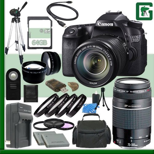 Canon EOS 70D Digital SLR Camera Kit with 18-135mm IS STM Lens and Canon 75-300mm III USM Lens + 64GB Green's Camera Package 2