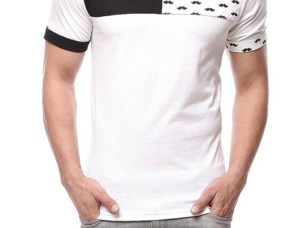 Gritstones White/Black Half Sleeve Round Neck T Shirt GSPNTHS1280WHTBLK