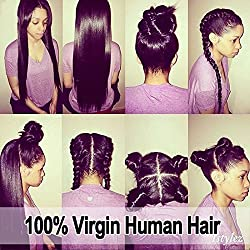 Eva Hair 7a Lace Front Human Hair Wigs for Black Women Brazilian Virgin Hair Lace Front Wig Glueless Straight Front Lace Wigs with Baby Hair(Lace Front Wigs 10 inch)